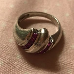 Sterling Silver Ruby Accent Ring Sz5